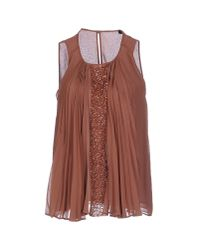 Pinko - Brown Top - Lyst