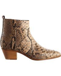 Saint Laurent - Natural Python Rock Ankle Boot - Lyst