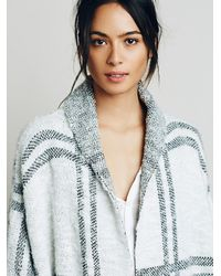 Free People - White Womens Window Pane Check Jacket - Lyst