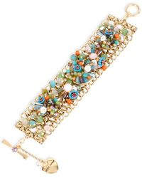 Betsey Johnson | Metallic Gold-tone Beaded Wide Bracelet | Lyst
