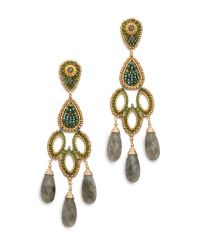 Miguel Ases | Metallic Embellished Drop Earrings - Gold/green | Lyst