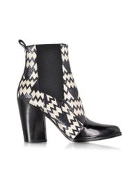 KENZO - Black And White Snake Print Ankle Boot - Lyst
