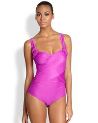 Badgley Mischka | Purple One-Piece Draped Swimsuit | Lyst