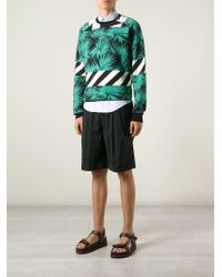 MSGM - Black Palm Tree Print Sweatshirt for Men - Lyst