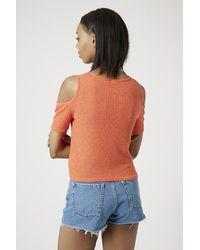 TOPSHOP - Orange Cold Shoulder Ribbed Top - Lyst