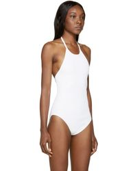T By Alexander Wang - White Ribbed Halter Bodysuit - Lyst