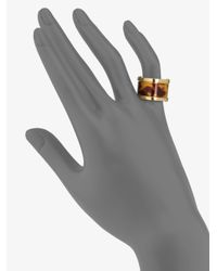 Michael Kors - Metallic Tortoise-Print Barrel Ring - Lyst