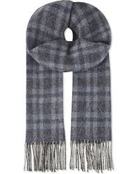 Johnstons | Blue Donegal Checked Cashmere Scarf for Men | Lyst