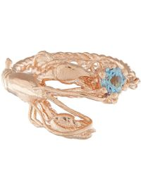 Alex Monroe | Pink Rose Gold-plated Lobster Aquamarine Ring | Lyst