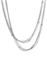 "David Yurman - Metallic Chain Necklace With Pave Diamond Beads, 36"" - Lyst"