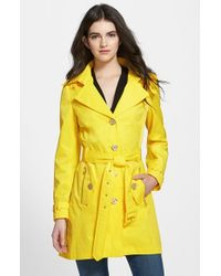 Steve Madden - Yellow Single Breasted Hooded Trench Coat - Lyst