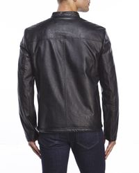 Kenneth Cole Reaction - Black Faux Leather Zip Jacket for Men - Lyst