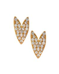 Tai | Metallic Gold-plated Crystal Heart Stud Earrings | Lyst