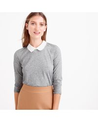 J.Crew - Gray Three-quarter-sleeve Collar T-shirt - Lyst