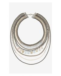 Express | Multicolor Layered Stone And Mixed Chain Necklace | Lyst