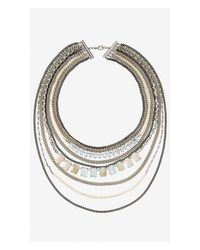 Express - Multicolor Layered Stone And Mixed Chain Necklace - Lyst