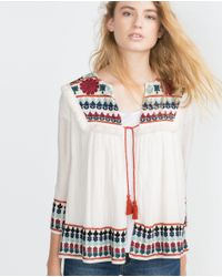 Zara | Natural Embroidered Jacket | Lyst