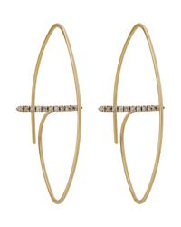 Hirotaka | White Floating-diamond-bar Hoop Earrings | Lyst