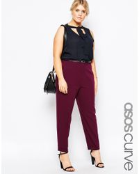 ASOS | Red Curve Cigarette Trousers With Belt | Lyst