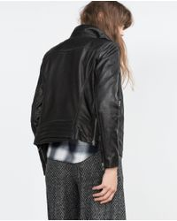 Zara | Black Leather Jacket | Lyst