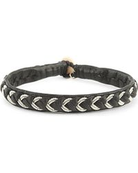 Maria Rudman - Metallic Leather And Embroidered Pewter Bracelet - Lyst