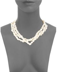Kenneth Jay Lane | White Three-tiered Faux Pearl Necklace | Lyst