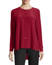 Eileen Fisher - Red Long-sleeve Crepe De Chine Blouse - Lyst