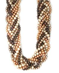 Effy - Metallic Sterling Silver Brown Multi-colored Pearl Braided Necklace - Lyst