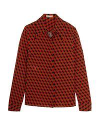 Michael Kors - Multicolor - Printed Silk-crepe Shirt - Red - Lyst