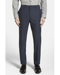 Calibrate | Blue Wool & Mohair Flat Front Trousers for Men | Lyst