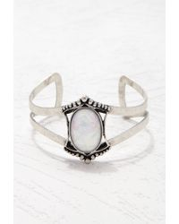 Forever 21 | Metallic Faux Stone Cutout Bracelet Cuff | Lyst