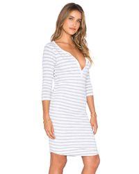 Sundry - Natural Striped 3/4 Henley Dress - Lyst