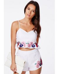Missguided - Multicolor Morava Premium Floral Embroidered Cami Crop Top - Lyst