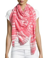 Michael Stars - Pink Pencil Marks Square Scarf - Lyst
