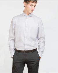 Zara | Gray Dobby Shirt for Men | Lyst