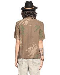 DIESEL - Green Leaf Printed Viscose Flannel Shirt for Men - Lyst