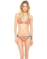 Marc By Marc Jacobs | Red Tara Stripe Triangle Bikini Top | Lyst