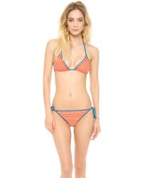 Marc By Marc Jacobs - Red Tara Stripe Triangle Bikini Top - Lyst