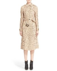 Burberry Prorsum Natural Macrame Lace Trench Coat