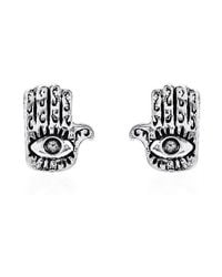 Aeravida | Metallic Jewish Hamsa Hand/evil Eye 925 Silver Stud Earrings | Lyst