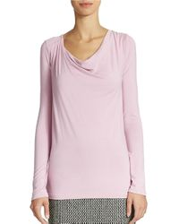 Lord & Taylor | Purple Cowl Neck Top | Lyst