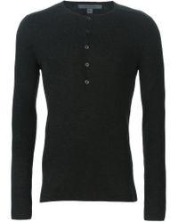 John Varvatos - Gray Henley Sweater for Men - Lyst