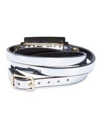 McQ - Metallic Silver Razor Leather Wrap Bracelet - Lyst