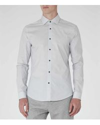 Reiss - White Highgarden Patterned Slim-fit Shirt for Men - Lyst