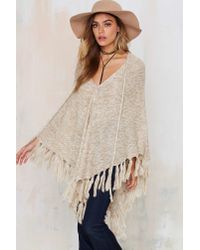 Nasty Gal - Natural Knitflix And Chill Poncho - Lyst