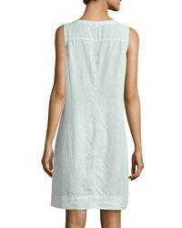 Eileen Fisher - Blue Sleeveless Organic Linen Dress - Lyst