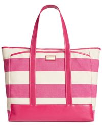 Tommy Hilfiger | Red Ashley Woven Rugby Stripe Tote | Lyst