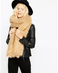 ASOS - Brown Oversized Ultra Fluffy Scarf - Lyst