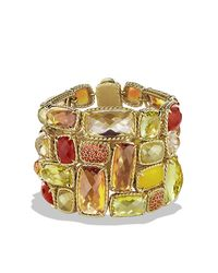 David Yurman | Yellow Châtelaine Five-row Bracelet With Lemon Citrine, Champagne Citrine, And Orange Sapphire In 18k Gold | Lyst
