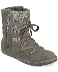 G by Guess | Gray Roberta Lace-up Sweater Booties | Lyst